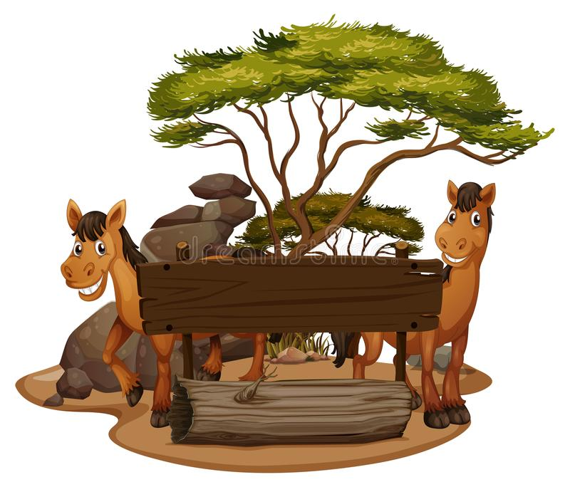 Two horses by the wooden sign stock illustration