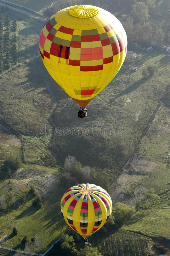 Two hot air balloon above each other in Temecula, California. stock images