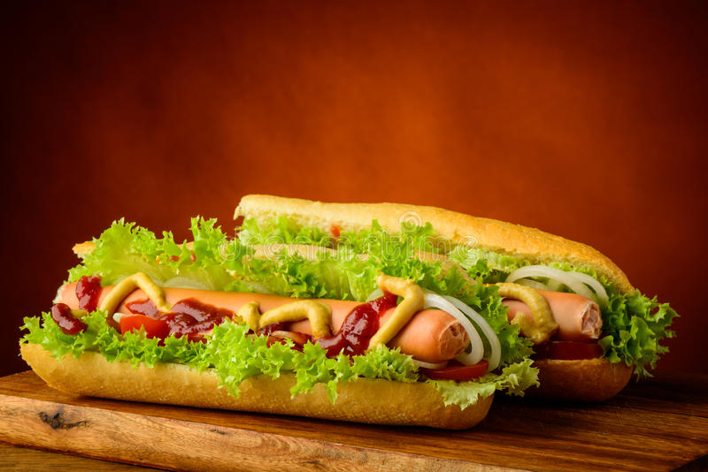 Two hot dogs royalty free stock images