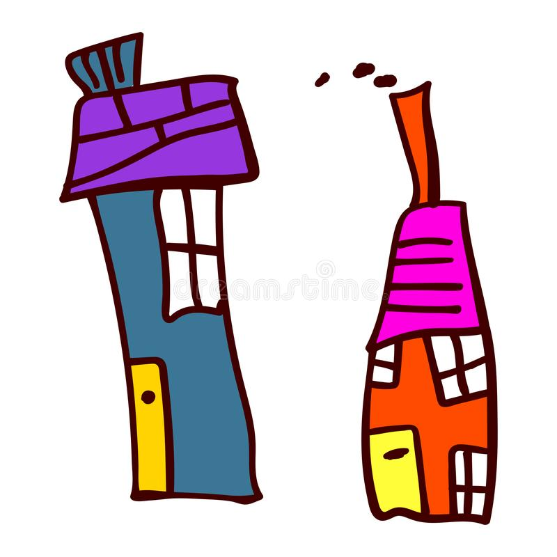 Two house in the style of childrens drawings. Two crooked house in the style of childrens drawing. Vector illustration. Isolated white background stock illustration