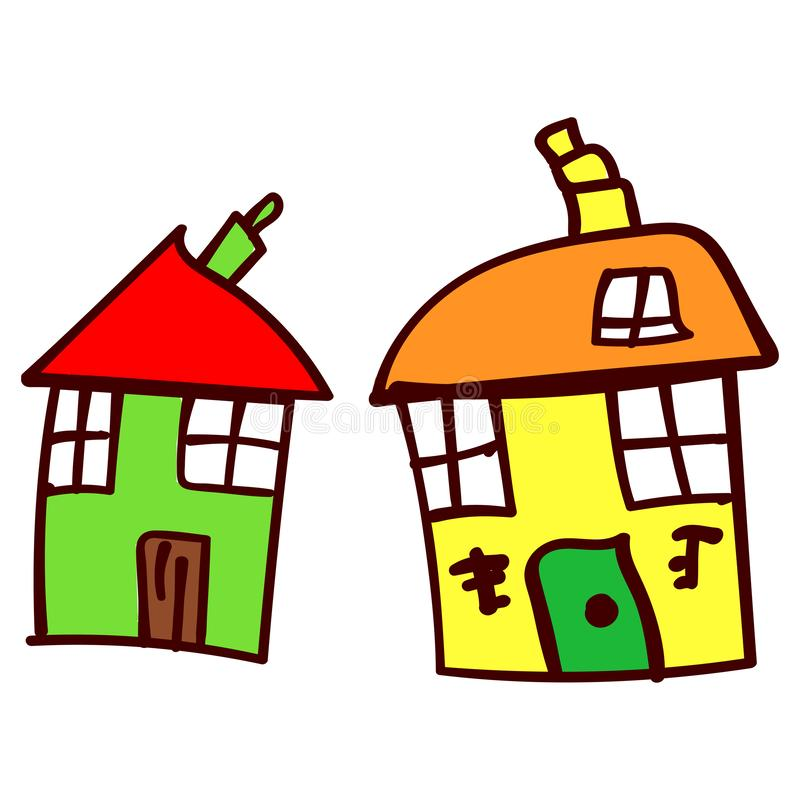 Two house in the style of childrens drawings. Two crooked house in the style of childrens drawing. illustration. Isolated white background stock illustration