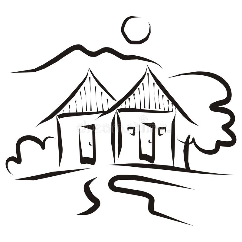 Two houses in countryside, black vector illustration. On white background.Contour drawing of two cottages, tree, way, mountain and sun stock illustration