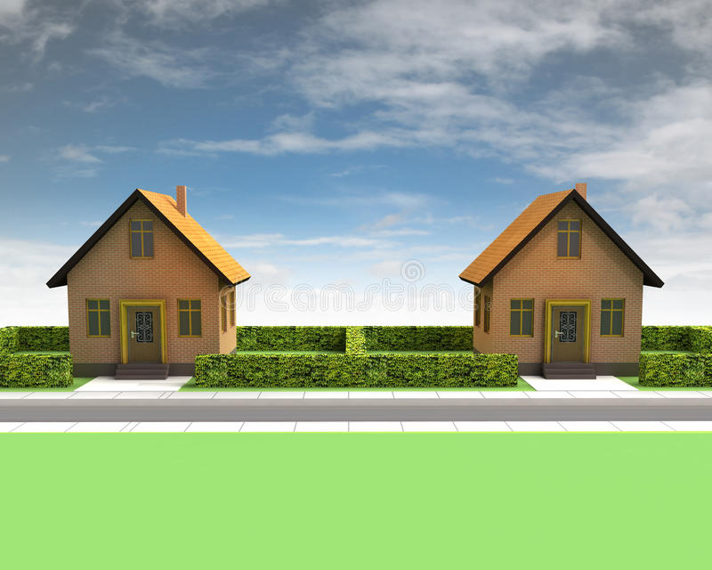 Download Two Houses In Neighborhood With Blue Sky Stock Illustration - Image: 30203558