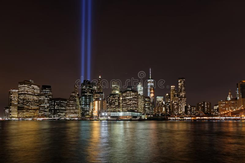 Two huge blue lights in the sky of Manhattan stock photo
