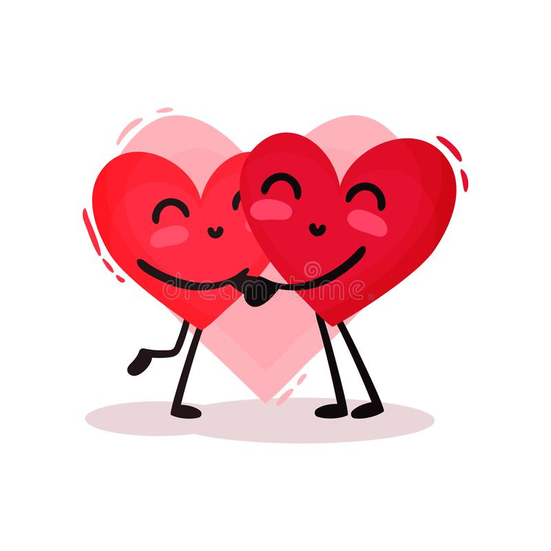 Two hugging red hearts. Adorable couple in love. Valentines day theme. Flat vector design royalty free illustration