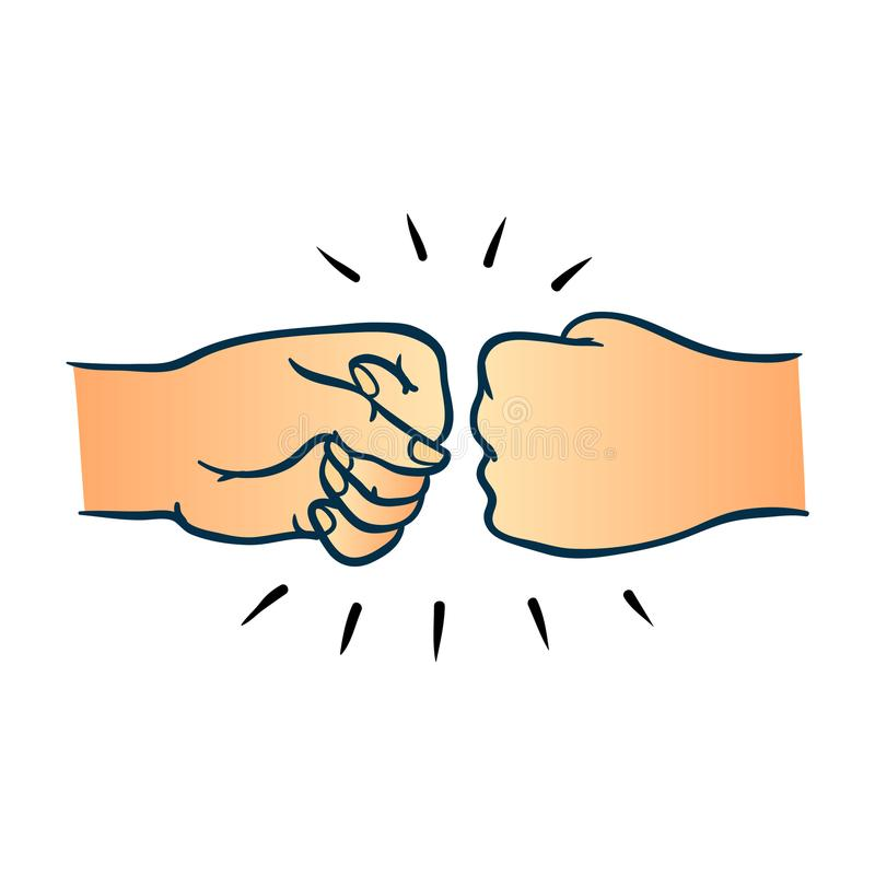 Two Human Hands Giving Fist Bump Gesture In Sketch Style Isolated On White  Background. Stock Vector - Illustration of finger, people: 117553796