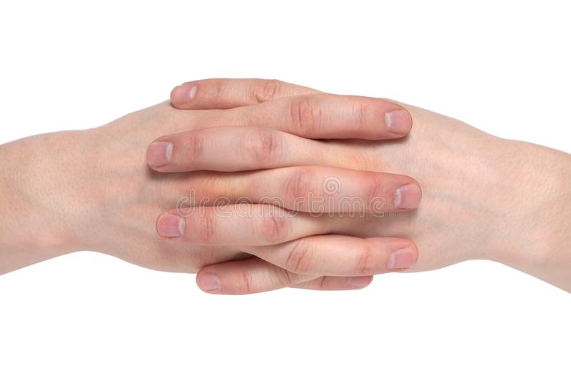 Two Human Join Hands Together Isolated On White Background ...