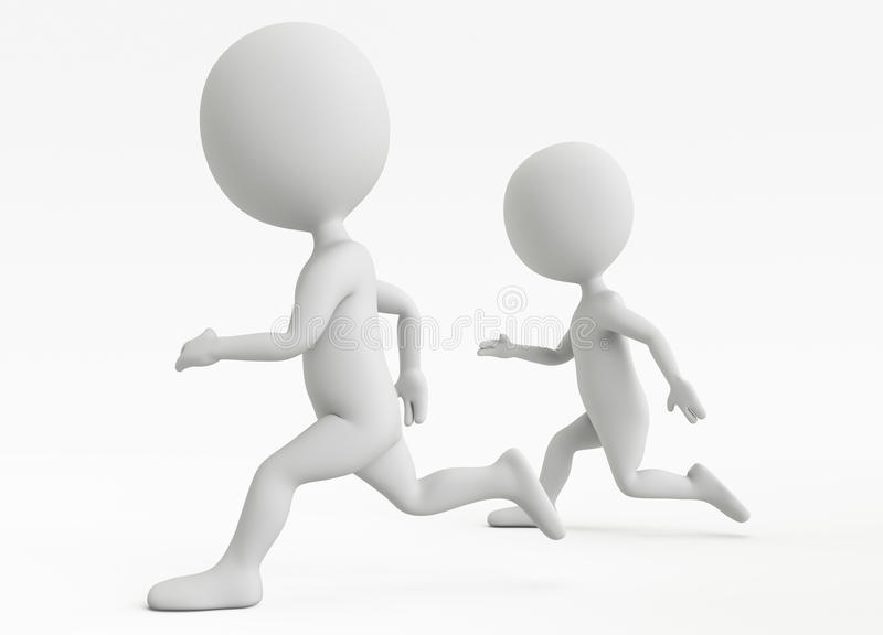 Two Humanoid Character Running Stock Photography