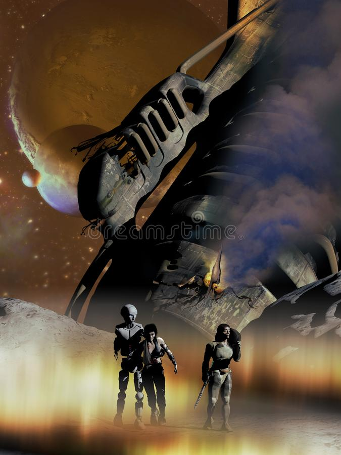 Survivors of Spaceship Crash. Two humans, one of them wounded, and an android coming out of a spaceship wreck on an hostile alien planet stock illustration