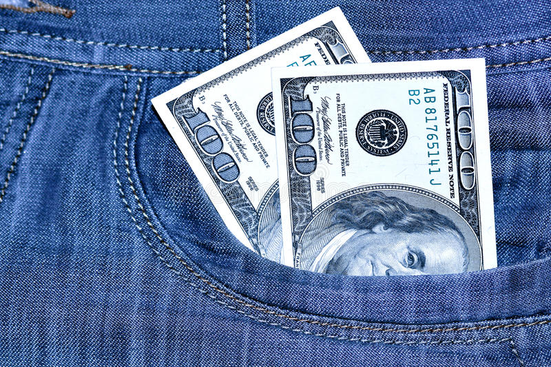 Download Two Hundred Dollars In A Pocket Stock Photo - Image of deposit, currency: 17304152