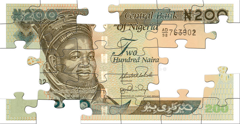 Two hundred naira puzzle stock photos