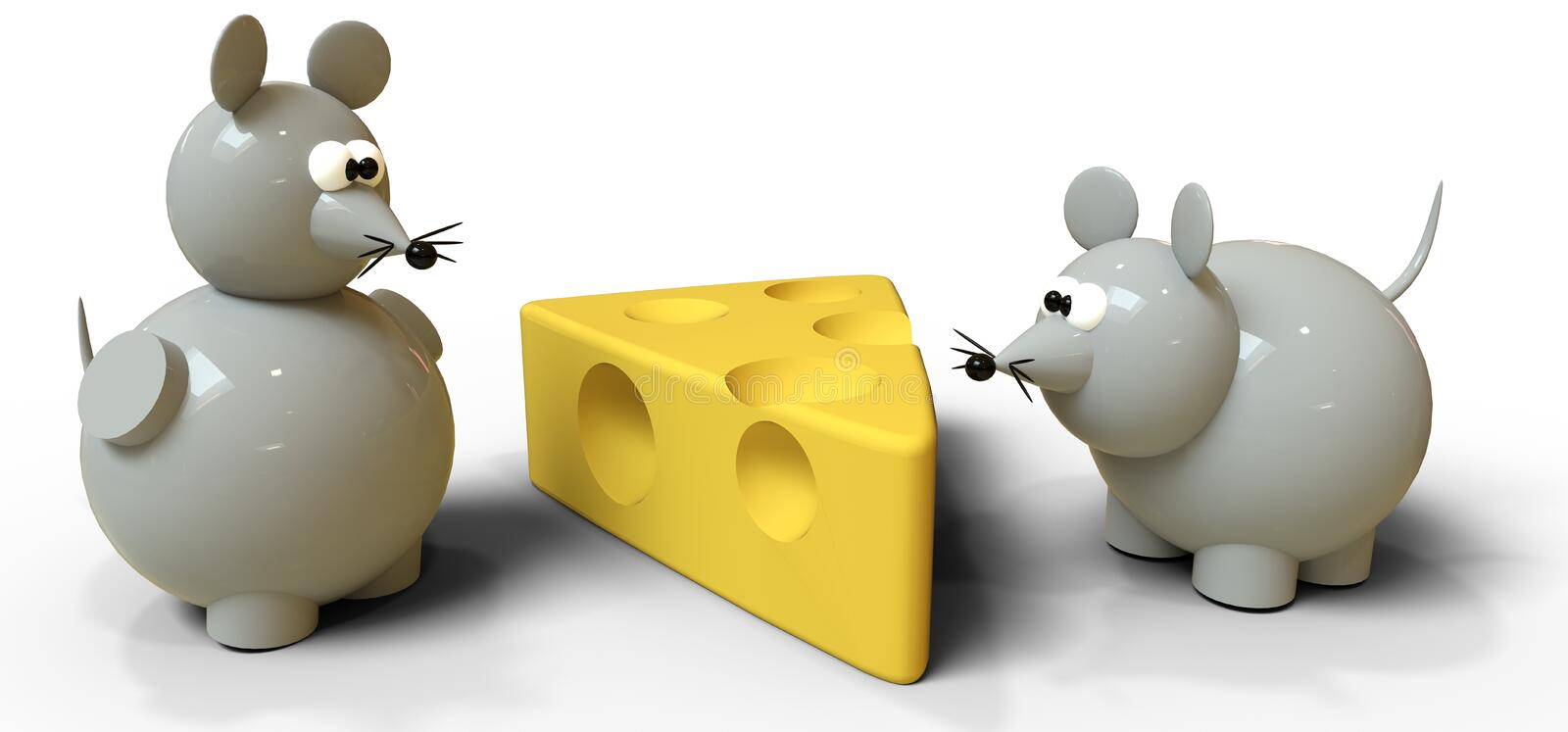 Two gray mice compete for swiss cheese stock photos