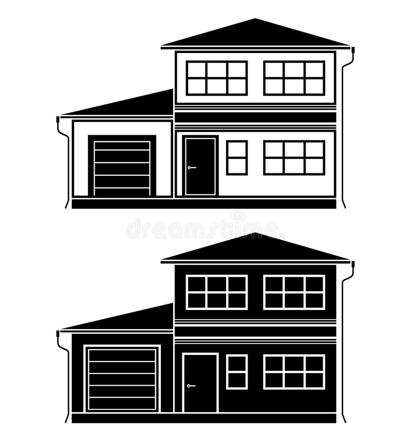 Download Two icons of cottages stock vector. Image of landscape - 31903451
