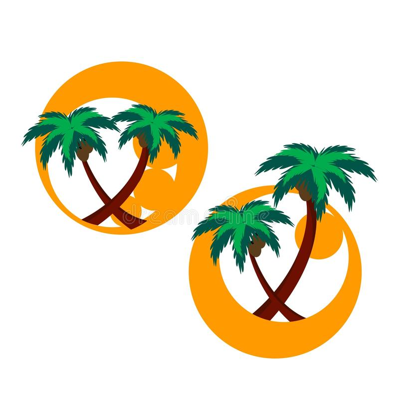 Two Icons With Palm Trees Stock Photo