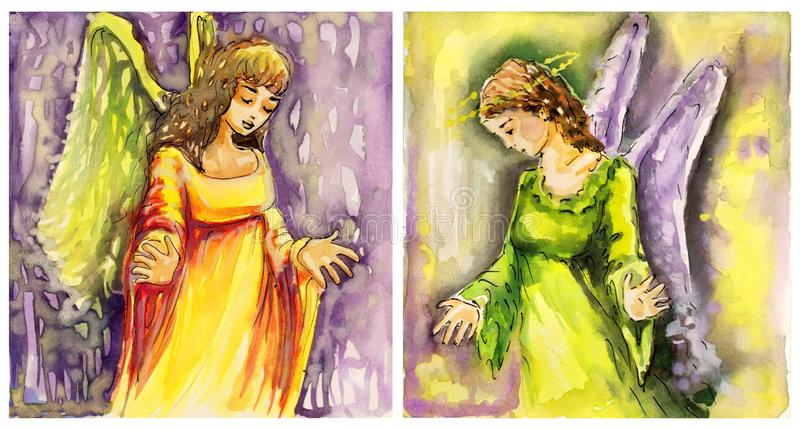 Download Two images of angels stock illustration. Image of woman - 24506692
