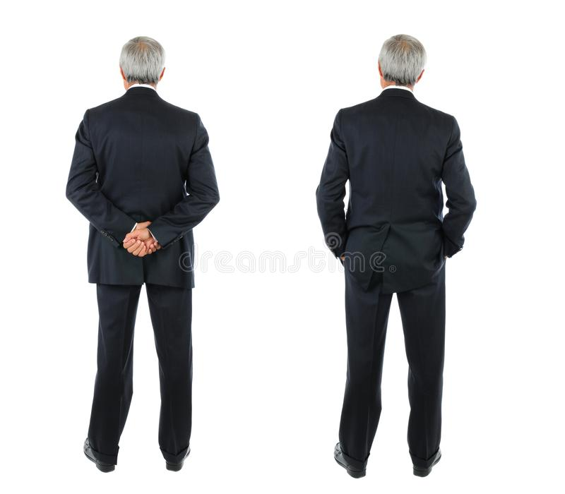 Two images of the same middle aged businessman seen from behind royalty free stock image