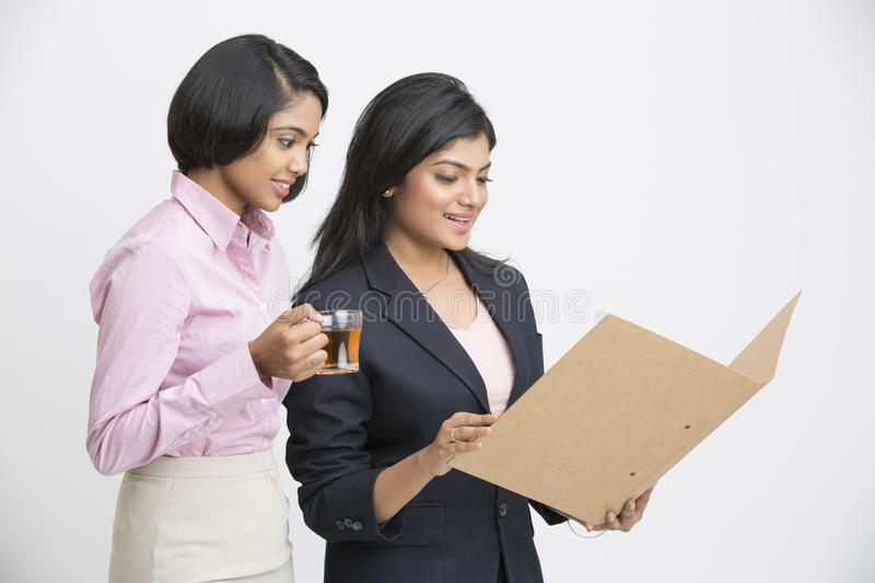 Two Indian Businesswomen Having Informal Meeting stock images