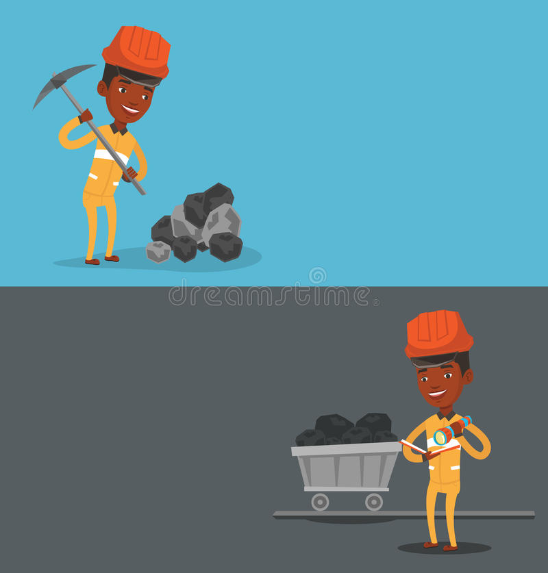 Two industrial banners with space for text. Vector flat design. Horizontal layout. Miner in hard hat working with a pickaxe. Miner at the coal mine. Miner stock illustration