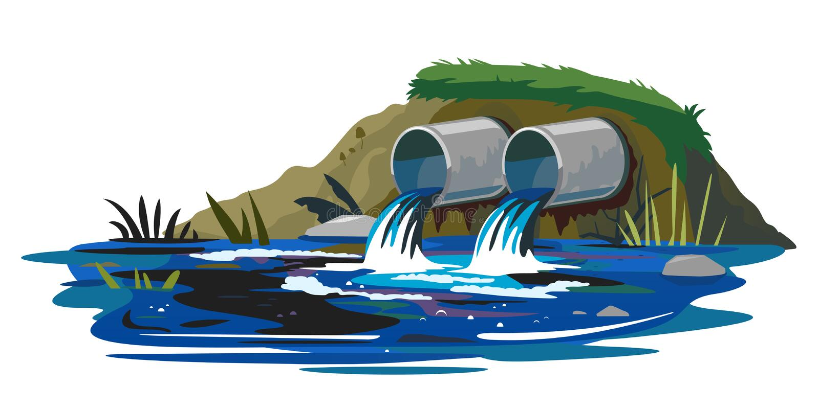 Wastewater discharge from industrial pipes. Two industrial pipes discharge wastewater into the pond isolated, ecological disaster, dirty toxic effluents stock illustration