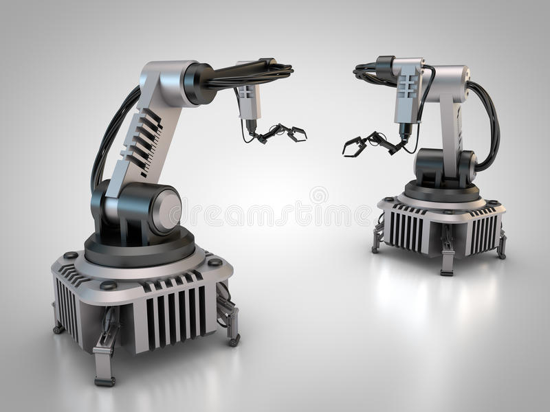 Two industrial robots. 3D rendering: Industrial robots are operating stock illustration