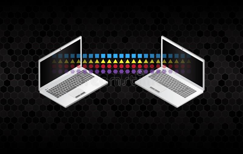 Two information transferring laptops. Abstract data transfer vector illustration stock illustration