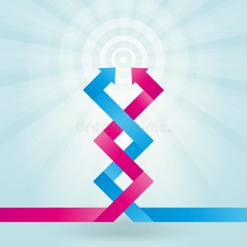 Two intertwined arrows stock illustration