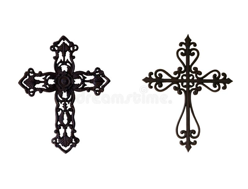 Two iron crosses royalty free stock photo
