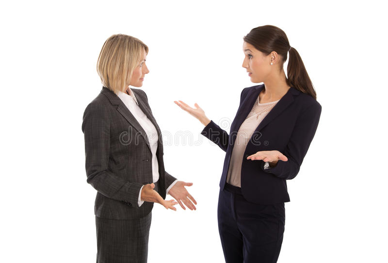 Two isolated businesswoman talking together: concept for body la. Two isolated businesswoman talking together stock images