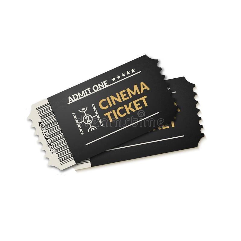 Two isolated cinema tickets background. Movie coupon tickets for film theater royalty free illustration