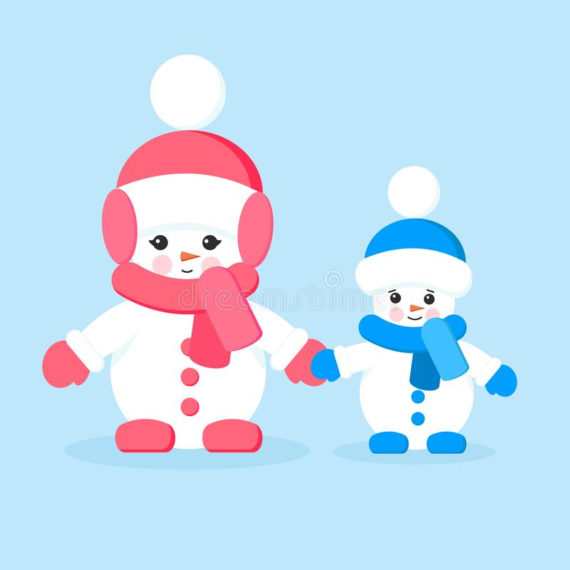 Two isolated cute cartoon snowmen, sister and brother in scarves, mittens and hats royalty free illustration