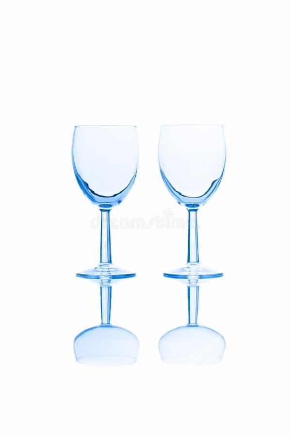 Empty red wine glasses stock photos