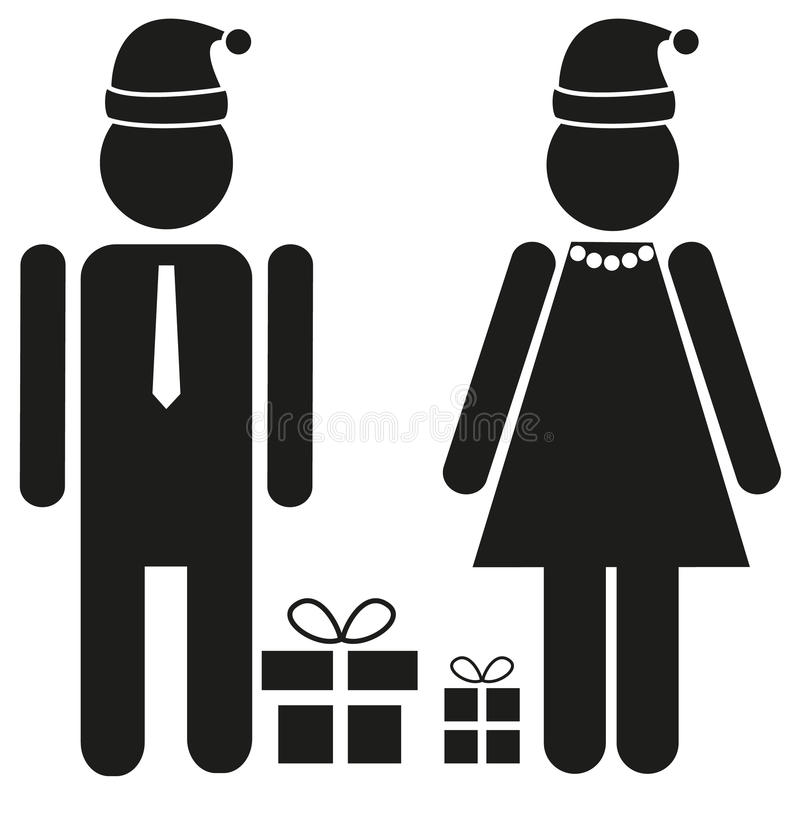 Free Two Isolated Figures - Male And Female In Festive Apparel With S Stock Photos - 63361593