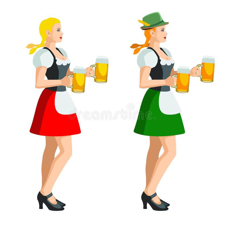 Two isolated figures of Oktoberfest girls in Bavarian folk costumes with beer mugs. Illustration of two isolated figures of Oktoberfest girls in Bavarian folk vector illustration