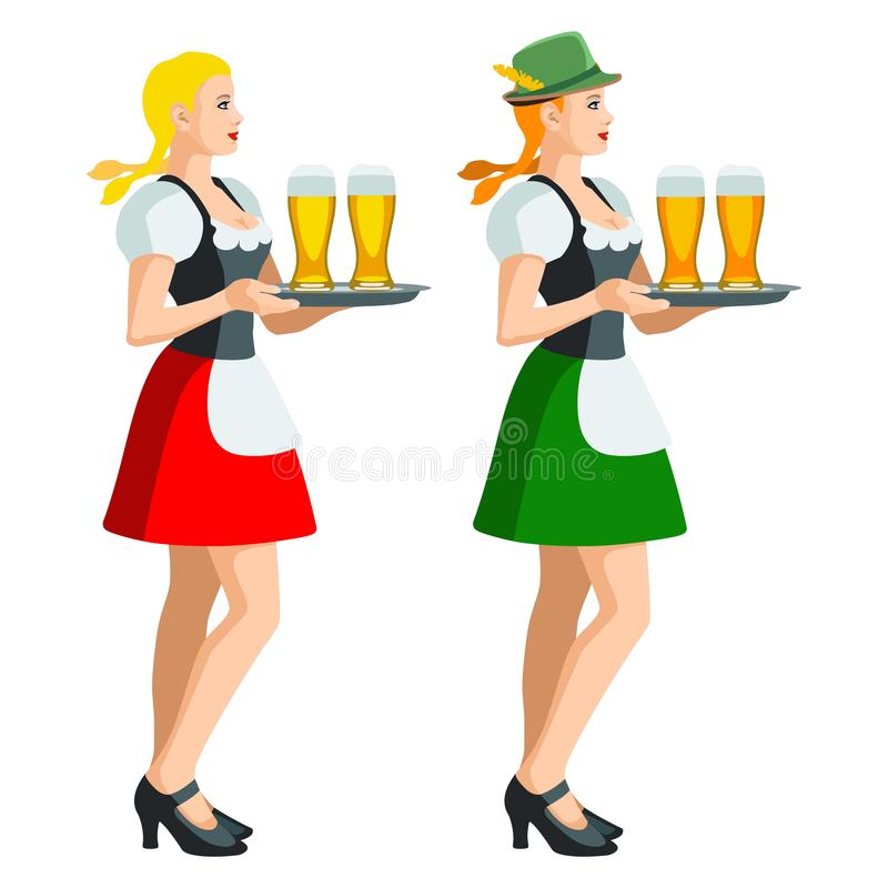 Two isolated figures of Oktoberfest girls in Bavarian folk costumes holding a tray of beer glasses. Illustration of two isolated figures of Oktoberfest girls in royalty free illustration