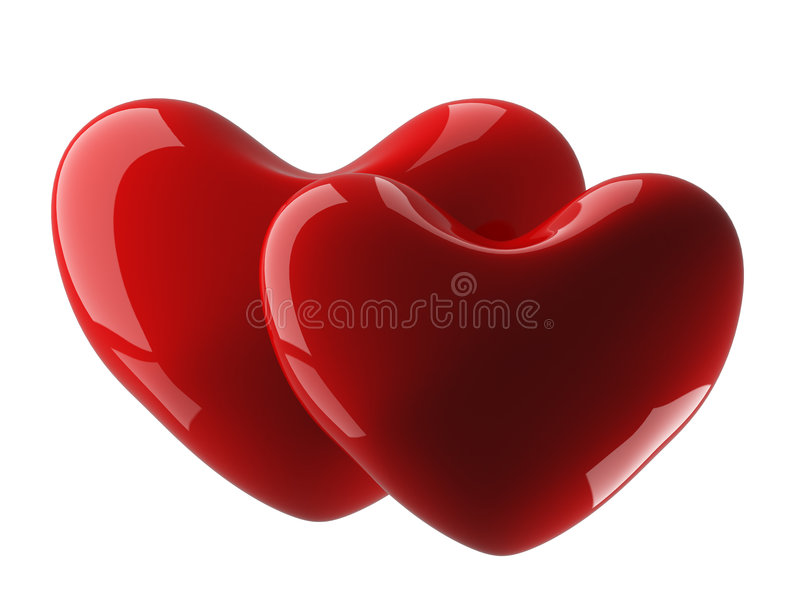 Two isolated heart on a white background. royalty free stock photo