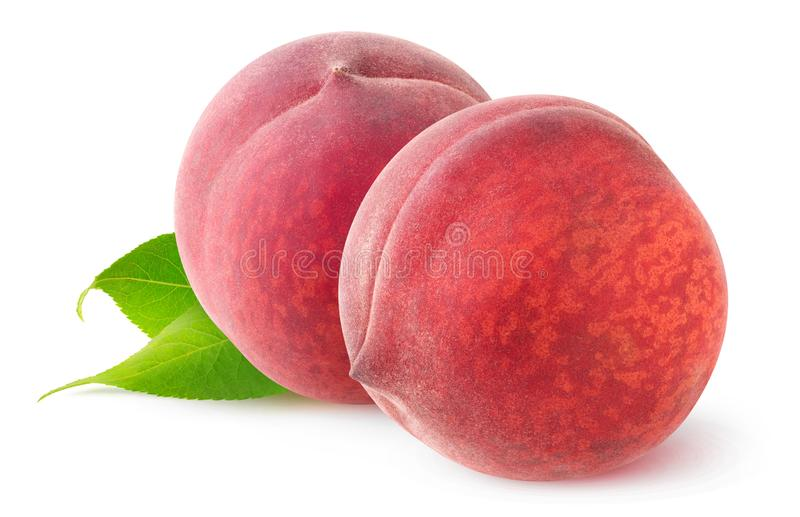 Two isolated peaches stock image
