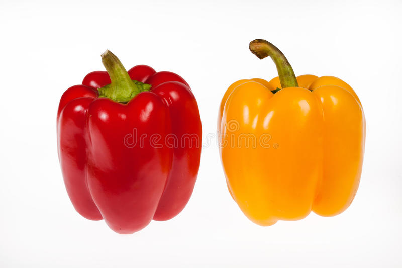 Two Isolated Peppers stock photography