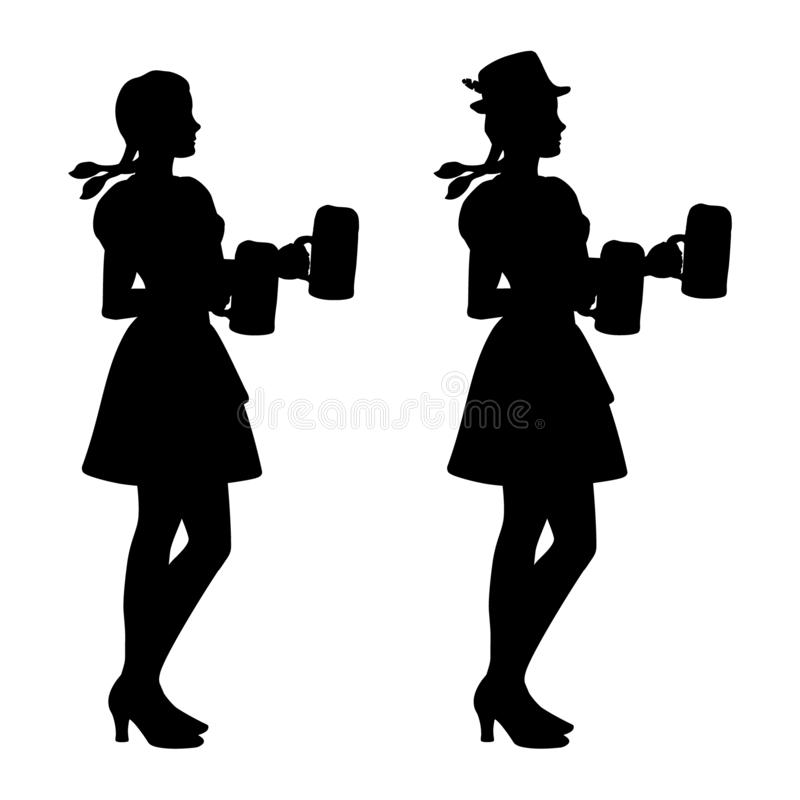 Two isolated silhouettes of Oktoberfest girls in Bavarian folk costumes with beer mugs. Illustration of two isolated silhouettes of Oktoberfest girls in Bavarian stock illustration