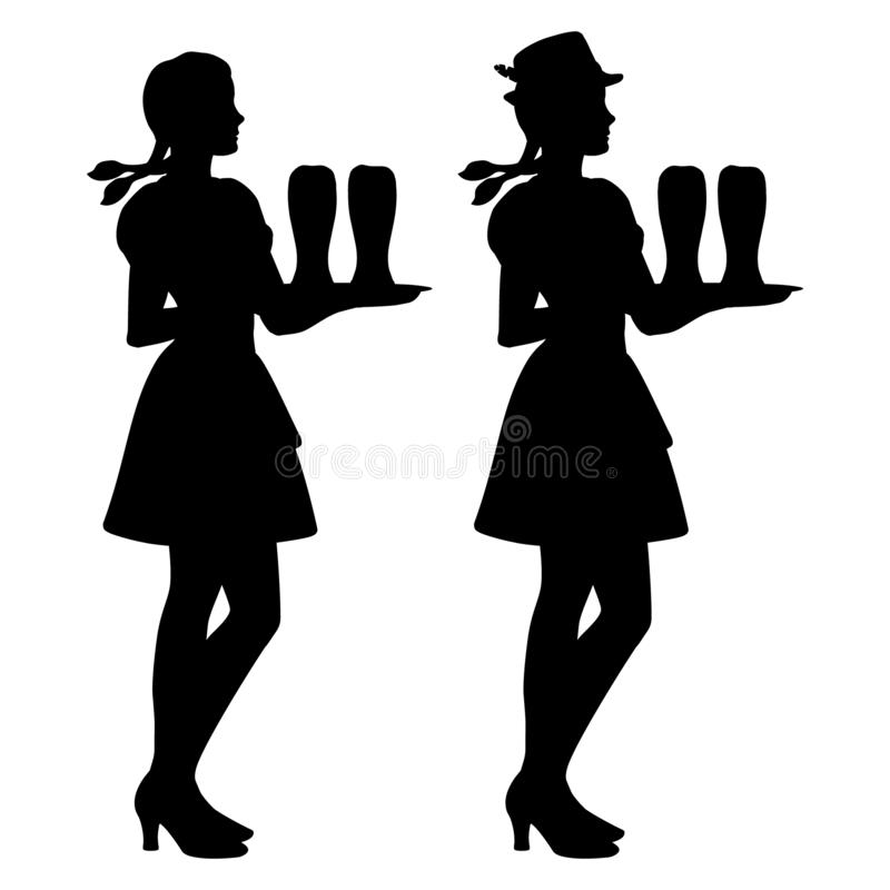 Two isolated silhouettes of Oktoberfest girls in Bavarian folk costumes holding a tray of beer glasses. Illustration of two isolated silhouettes of Oktoberfest vector illustration