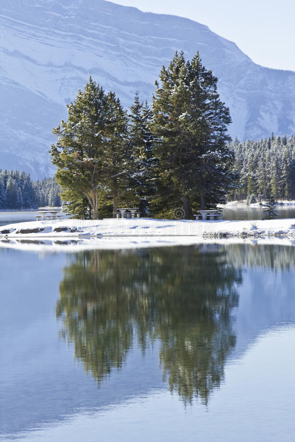 Download Two Jack Lake at Banff stock image. Image of blue, tranquility - 22185131