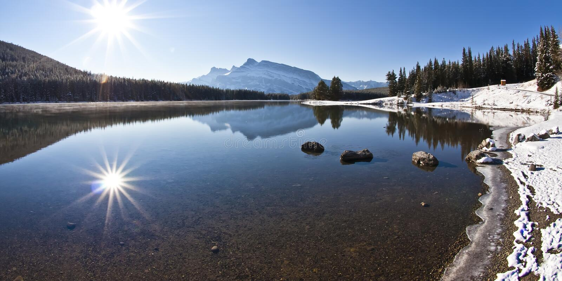 Download Two Jack Lake at Banff stock photo. Image of alpine, national - 22185172
