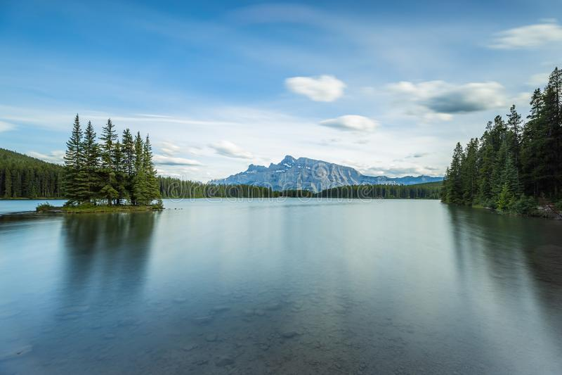 Two Jack Lake near Banff in Canada stock image