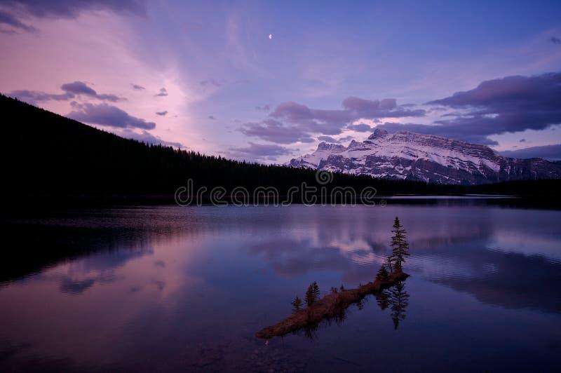 Two Jack Lake before sunrise royalty free stock photo