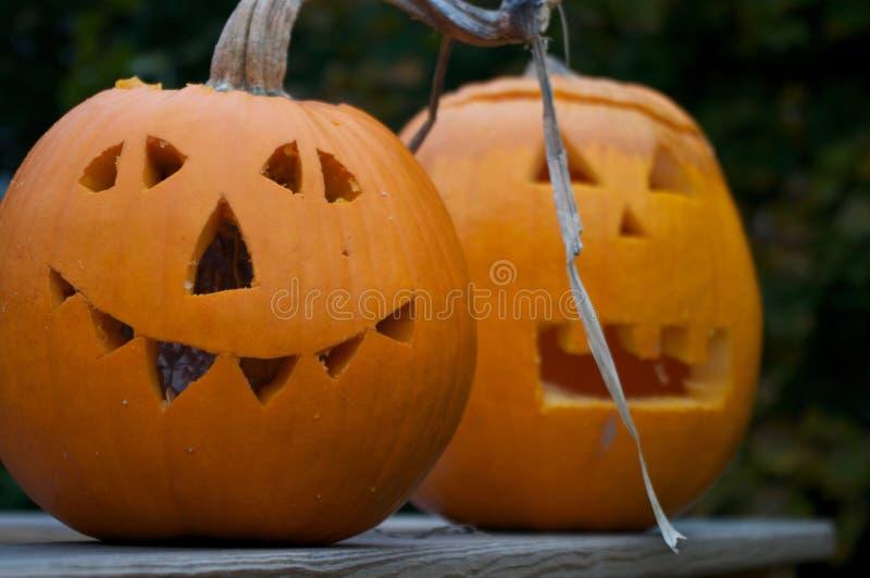 Two Jack-O'Lanterns stock photo