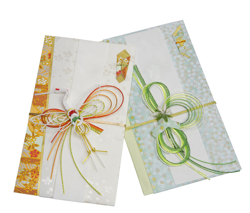 Two Japanese festive envelopes royalty free stock photos