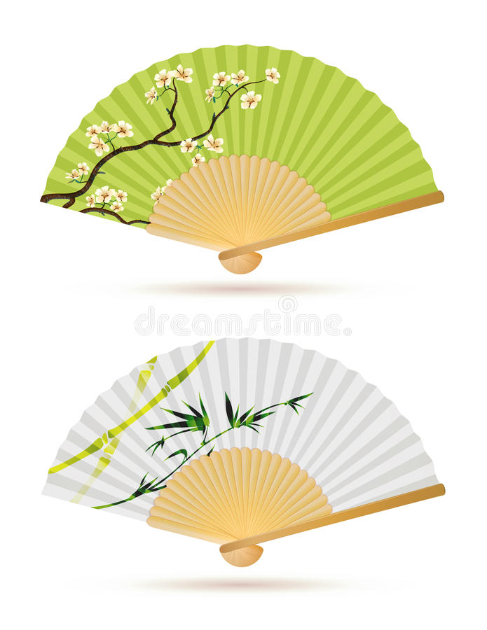 Two Japanese Folding Fans Royalty Free Stock Images