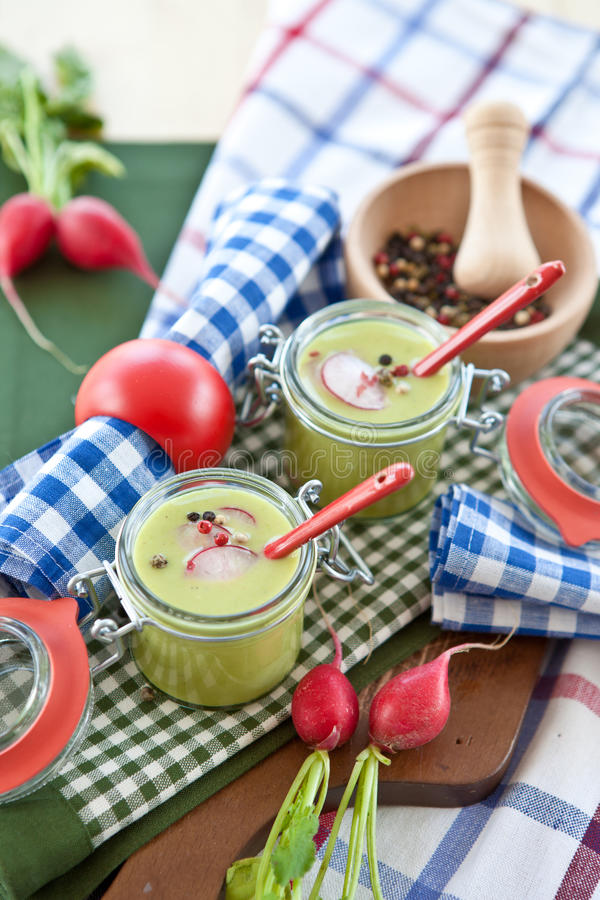 Download Two Jars With Warm Pea Soup Stock Photo - Image: 26772666