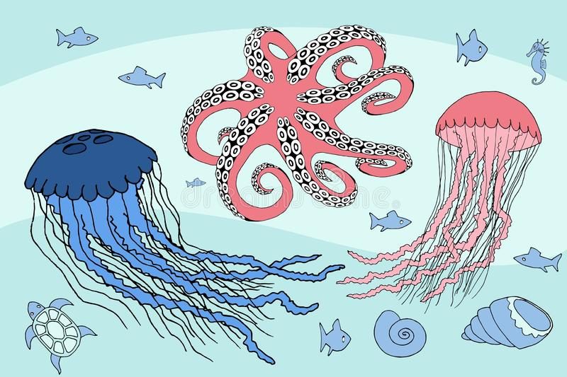 Two jellyfish, octopus and sea beasts marine life. Vector royalty free illustration
