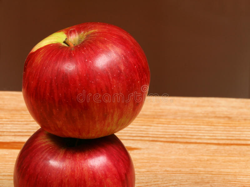 Two juicy red apples stock image