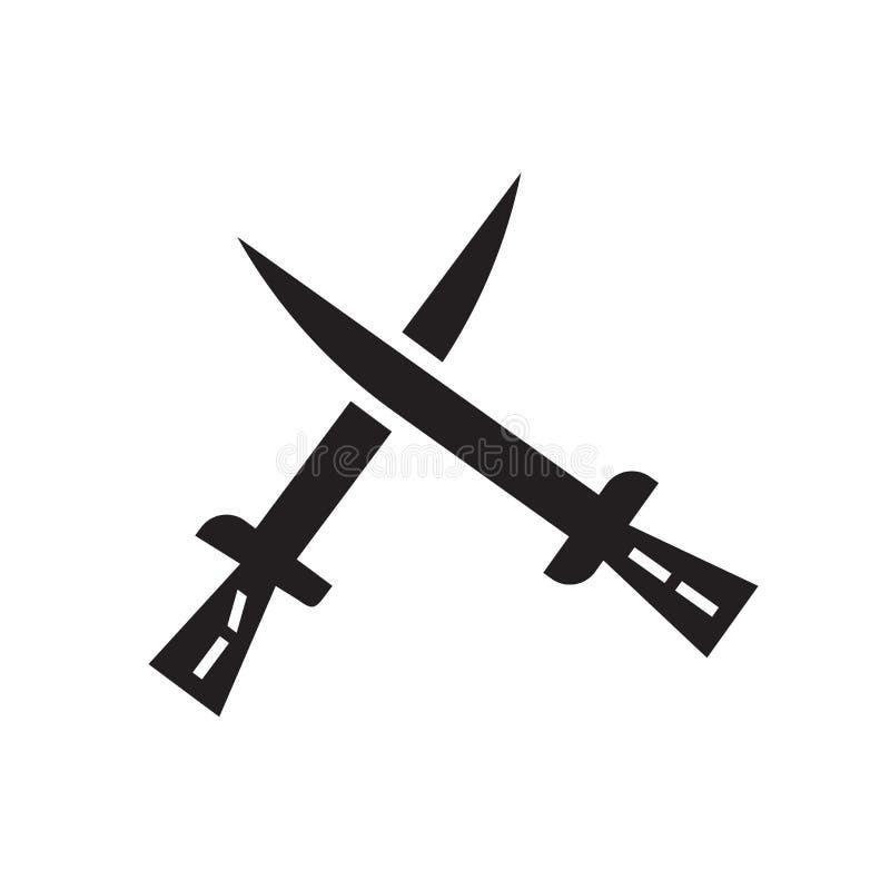 Two Katanas icon vector sign and symbol isolated on white background, Two Katanas logo concept stock illustration
